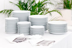 Stacks of plates Royalty Free Stock Photo