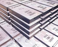 Stacks of platinum bars Stock Images