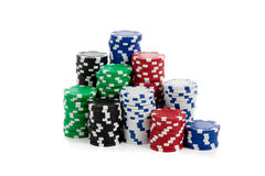 Stacks of poker chips on white Royalty Free Stock Images