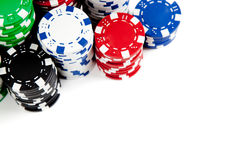 Stacks of poker chips on white with copy space Stock Images