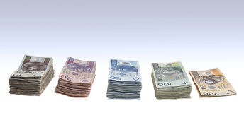 Stacks of polish zlotys Royalty Free Stock Photos