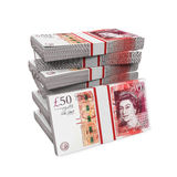 Stacks of 50 Pound Banknotes. Isolated on white background. 3D render Royalty Free Stock Images