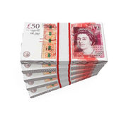 Stacks of 50 Pound Banknotes Royalty Free Stock Photos