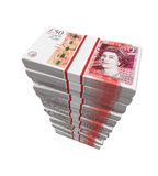 Stacks of 50 Pound Banknotes. Isolated on white background. 3D render stock illustration