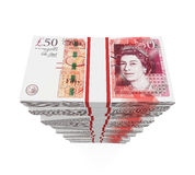Stacks of 50 Pound Banknotes. Isolated on white background. 3D render royalty free illustration