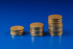 Stacks of pound coins. Ascending stacks of coins on blue background Royalty Free Stock Photo