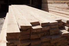 Stacks of prepared lumber Royalty Free Stock Photos
