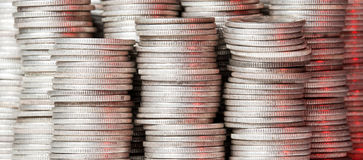 Stacks of pure silver coins Royalty Free Stock Photography