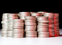 Stacks of pure silver coins Royalty Free Stock Images