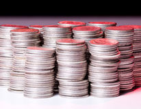Stacks of pure silver coins Stock Image