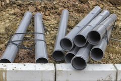 Stacks of pvc pipes at construction site 2 Stock Images