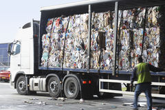 Stacks Of Recycled Paper In Lorry Stock Photo
