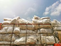 Stacks of recycled papers and foam and plastic garbage bags on the truck,Pile of trash on the truck. Waste recycling environment industry industrial ecology royalty free stock photo