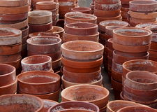 Stacks Of Red Clay Flower Pots Royalty Free Stock Image