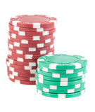 Stacks of red and green poker chips Stock Images