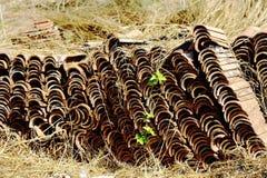 Stacks of ridge tiles Royalty Free Stock Photo
