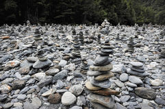 Stacks of rocks. At Fantail Falls at the trail head for Mt. Brewster at the Haast Pass road on New Zealand's South Island Royalty Free Stock Photos
