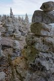 Stacks of rocks along the shore of Lake Michigan stock photography