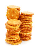 Stacks of round cracker Royalty Free Stock Photos