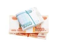 Stacks of russian banknotes Royalty Free Stock Photos