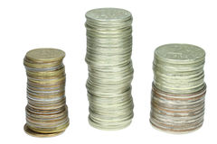 Stacks of the russian coins Stock Photo