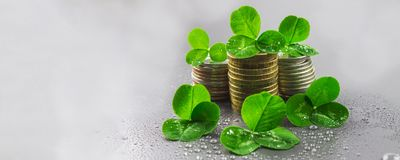 Stacks of Russian coins with clover leaves on a gray background with droplets of water. St.Patrick's Day. Stacks of Russian coins with clover leaves on a gray royalty free stock photos