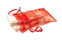 Stacks of russian fivethousand banknotes in gift bag Stock Images