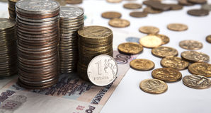 Stacks of Russian rubles with note Stock Image