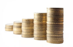 Stacks of russian ten-coin Royalty Free Stock Image