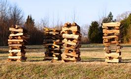 Stacks of Seasoned Firewood Stock Photography