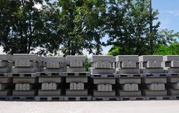 Stacks of precast concrete in a factory Royalty Free Stock Images