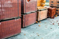 Stacks of silicate bricks Stock Photos