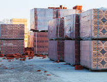Stacks of silicate bricks Stock Images
