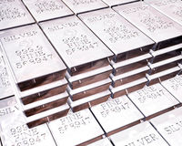 Stacks of silver bars Royalty Free Stock Images