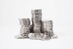Stacks of silver coins Stock Photo