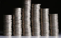 Stacks of silver coins Royalty Free Stock Photography
