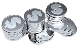 Stacks of silver coins isolated on white. Computer generated 3D photo rendering Stock Photography