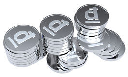 Stacks of silver coins isolated on white. Computer generated 3D photo rendering Stock Images