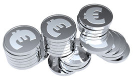 Stacks of silver coins isolated on white. Computer generated 3D photo rendering Stock Image