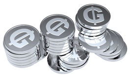 Stacks of silver coins isolated on white. Computer generated 3D photo rendering Stock Photos