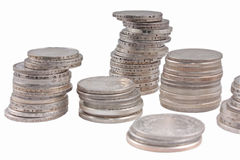 Stacks of silver money coins Royalty Free Stock Image