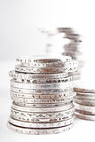 Stacks of silver money coins Stock Photos