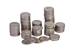 Stacks of silver quarters Stock Images
