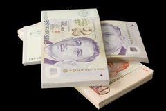 Stacks of Singapore currency Royalty Free Stock Photos