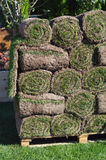 Stacks of sod rolls for new lawn stock photos