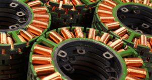 Stacks of stators from old disassembled brushless electric motor Stock Images