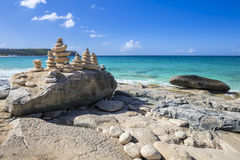 Stacks of stones in balance at a beach Royalty Free Stock Photo