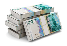 Stacks of 100 Swedish krones. Creative abstract banking, money making and business success financial concept: heap of stacks of 100 Swedish krona banknotes stock illustration