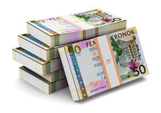 Stacks of 50 Swedish krones Royalty Free Stock Photo