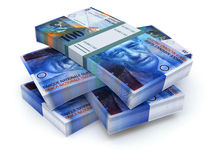 Stacks of swiss francs Stock Photography